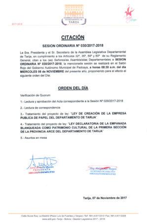 Sesión Ordinaria N° 30/2017-2018 @ Salón Rojo Gobierno Municipal de Padcaya